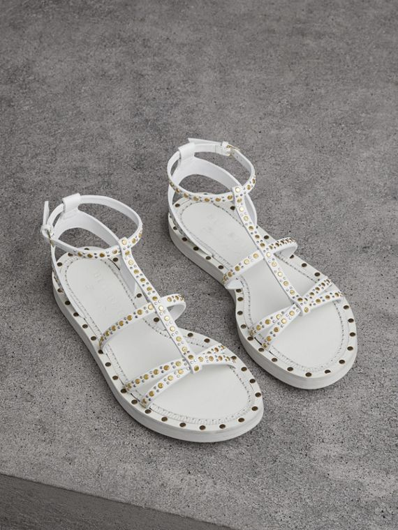 Riveted Leather Gladiator Sandals in Optic White