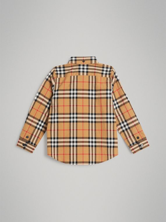Camicia con motivo Vintage check e colletto button-down (Giallo Antico) - Bambino | Burberry - cell image 3