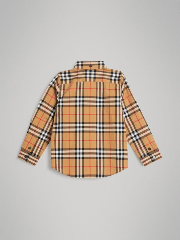 Button-down Collar Vintage Check Shirt in Antique Yellow - Boy | Burberry United Kingdom - cell image 3