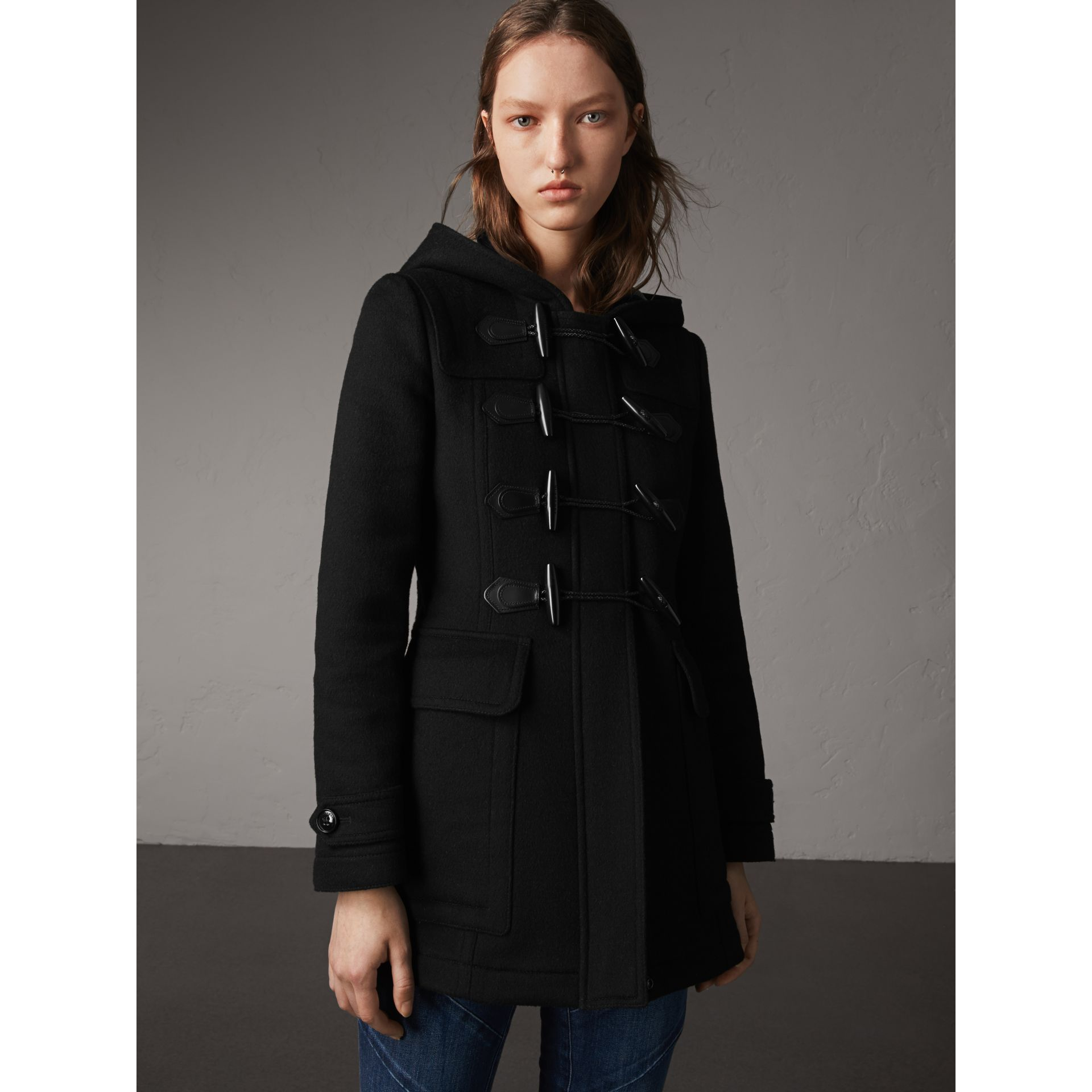 Fitted Wool Duffle Coat in Black - Women | Burberry - gallery image 1