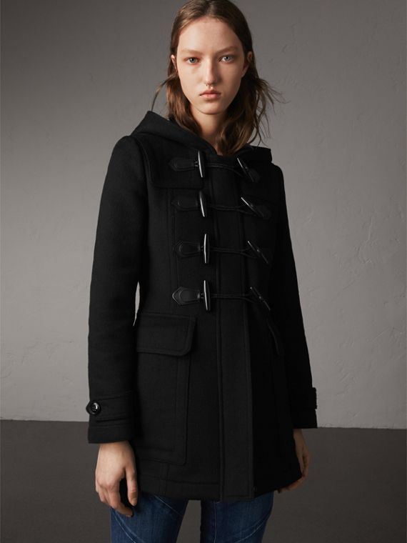 Fitted Wool Duffle Coat in Black