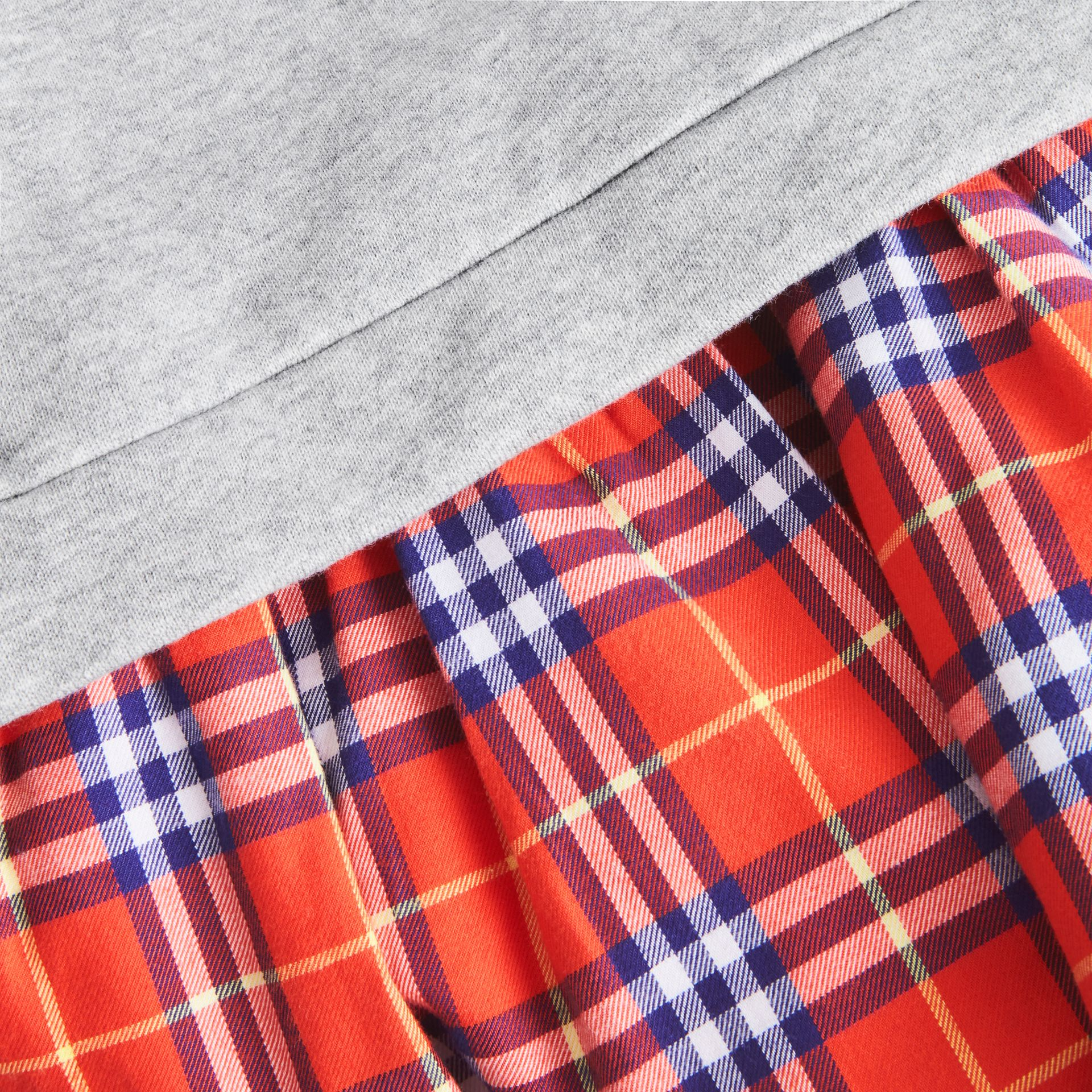 Robe sweat-shirt en coton à motif check (Rouge Orangé) | Burberry Canada - photo de la galerie 1