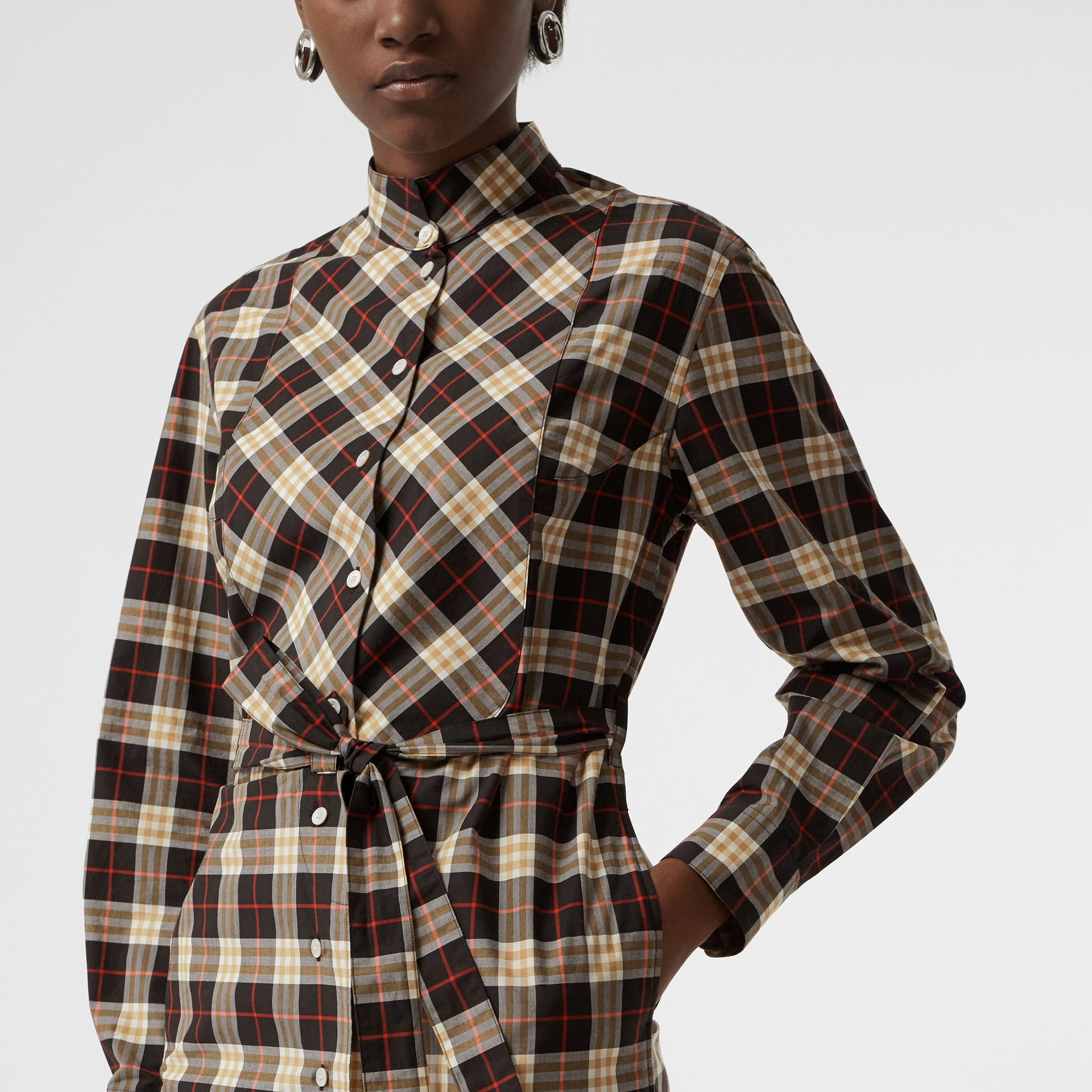 Check Cotton Tie-waist Shirt Dress in Midnight - Women | Burberry - gallery image 1