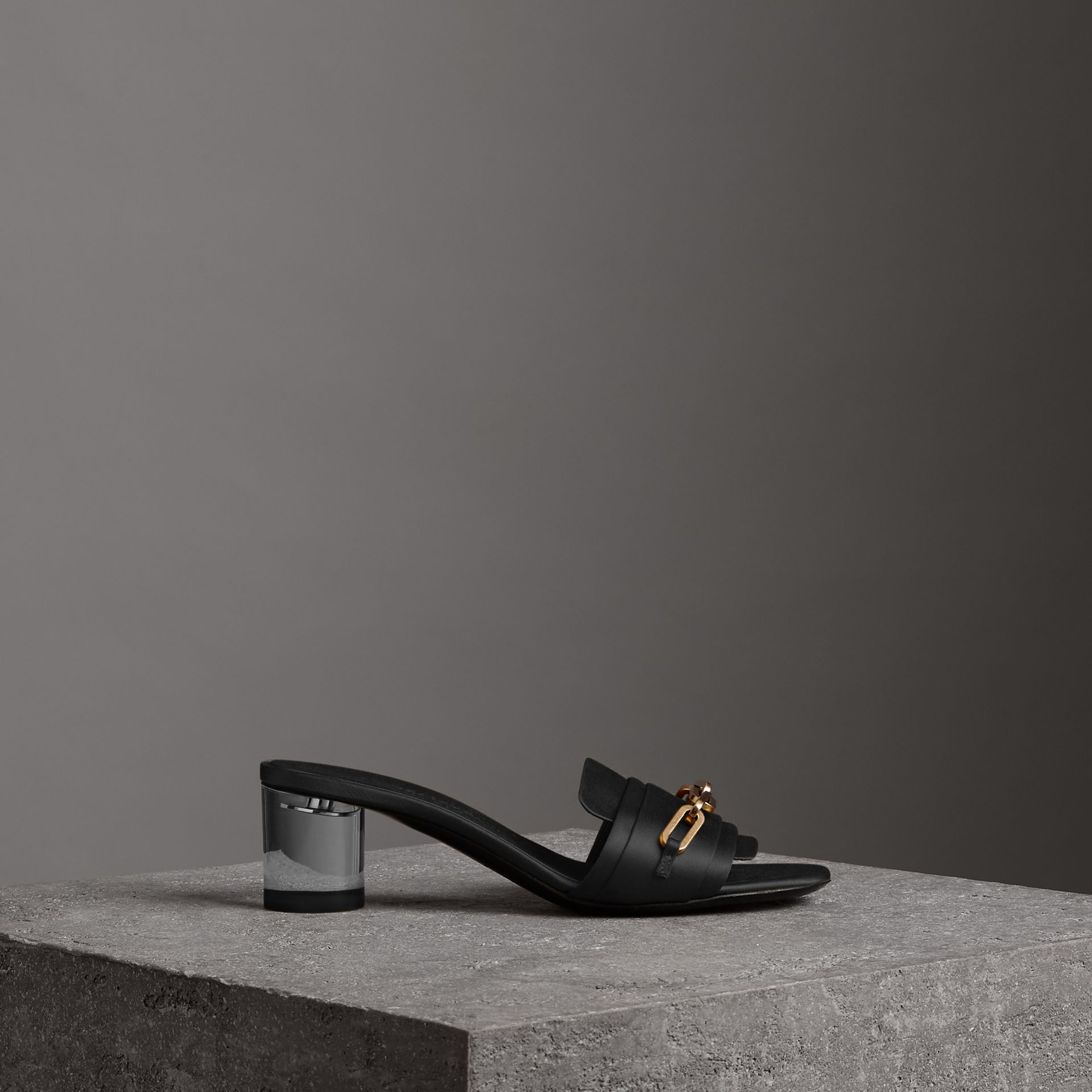 Link Detail Satin Heeled Slides in Black - Women | Burberry - gallery image 0