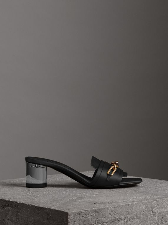 Link Detail Satin Heeled Slides in Black