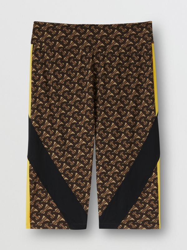 Colour Block Monogram Print Cycling Shorts in Bridle Brown - Women   Burberry United Kingdom - cell image 3