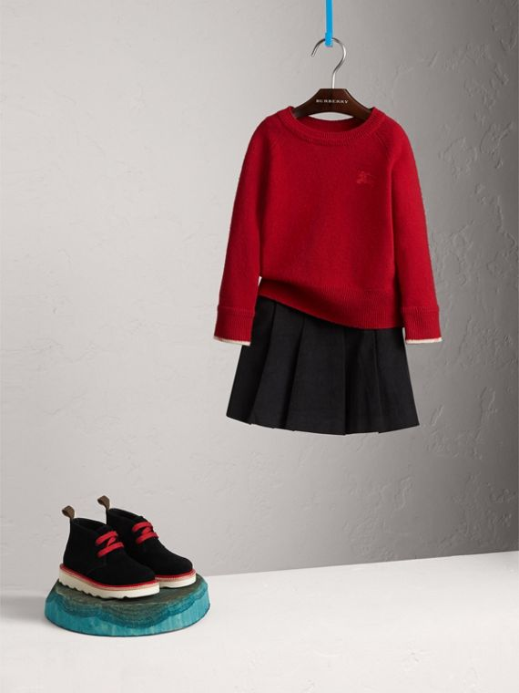 Check Cuff Cashmere Sweater in Parade Red