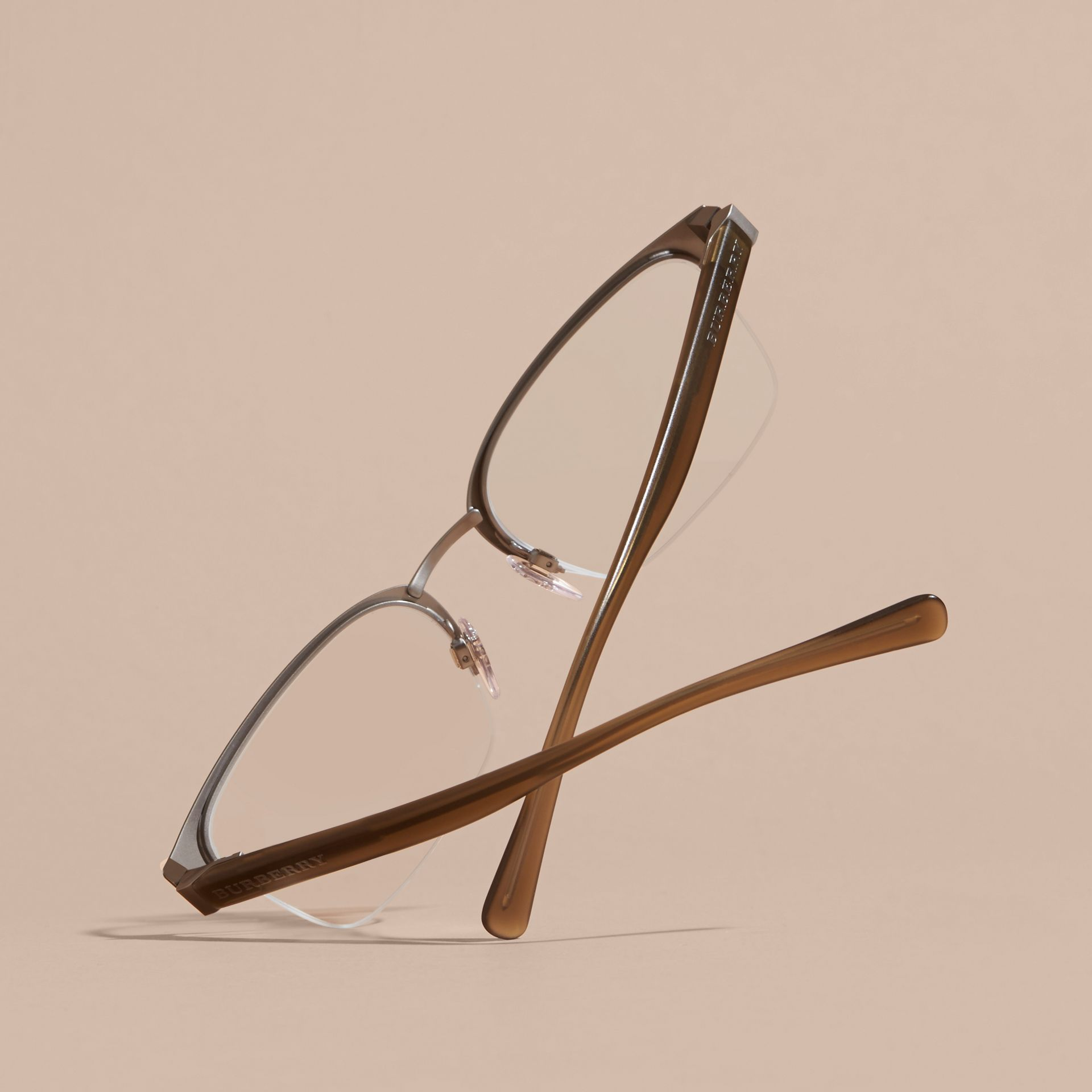 Half-rimmed Rectangular Optical Frames Olive - gallery image 4