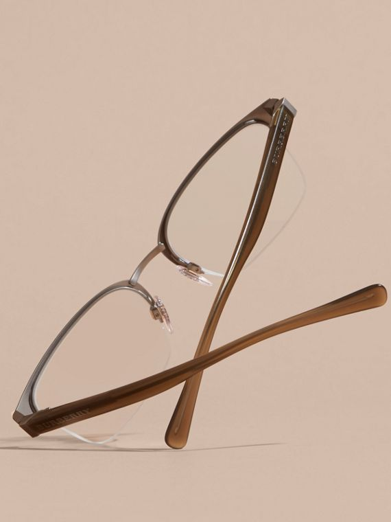 Half-rimmed Rectangular Optical Frames Olive - cell image 3