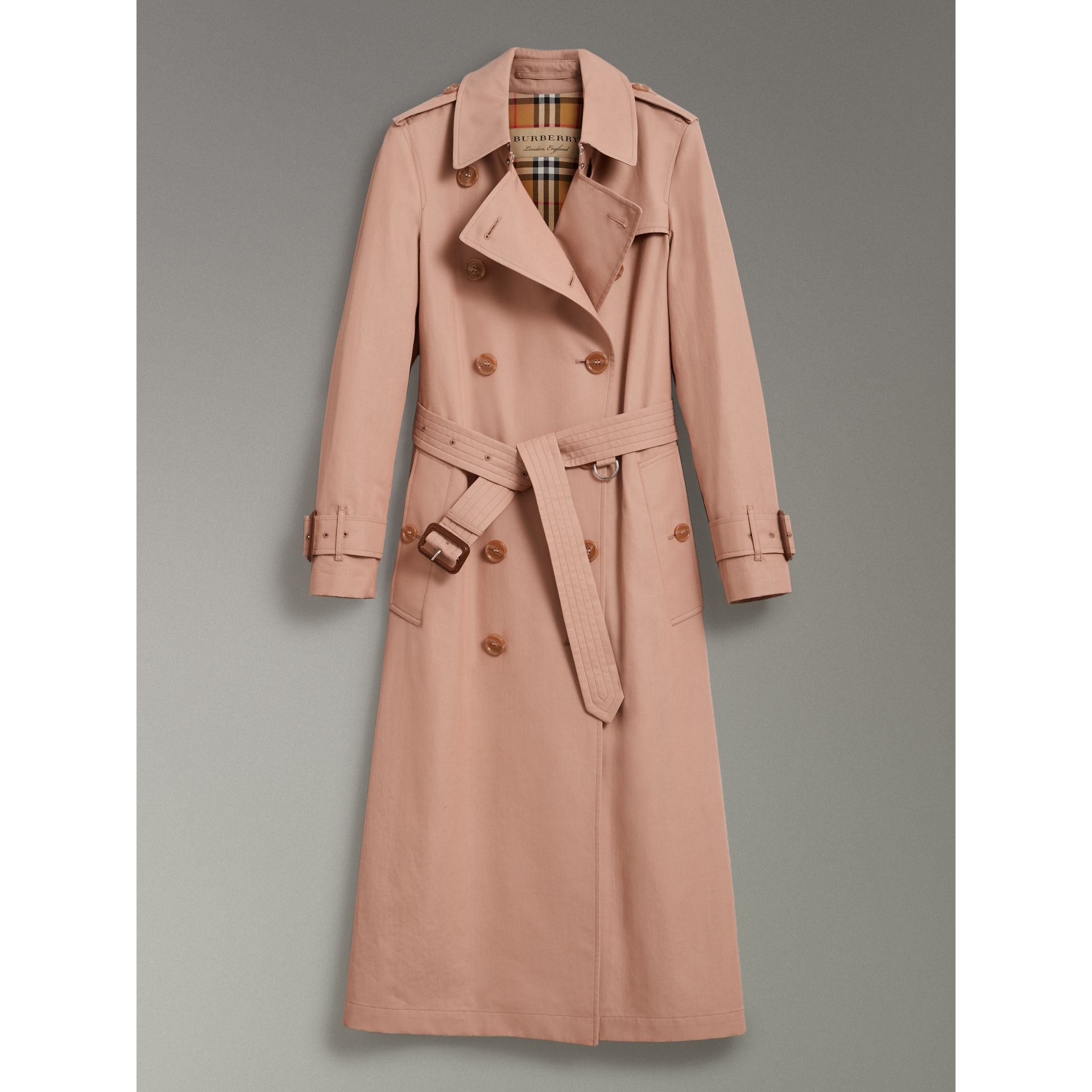 Tropical Gabardine Trench Coat in Pink Apricot - Women | Burberry Australia - gallery image 3
