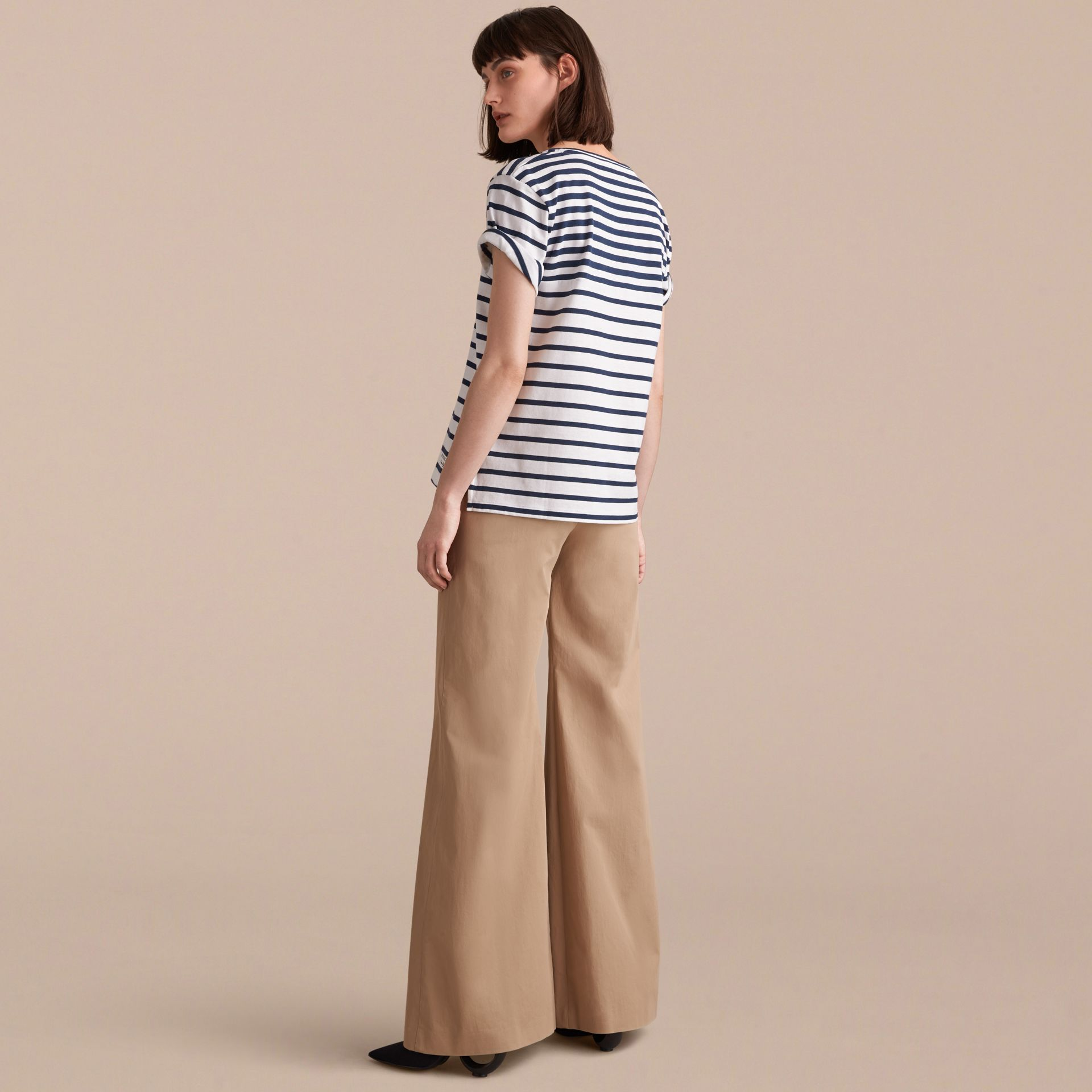 Breton Stripe Cotton T-shirt in Navy/white - Women | Burberry - gallery image 3
