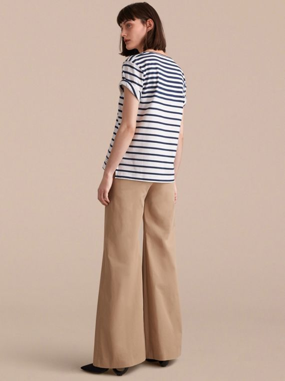 Breton Stripe Cotton T-shirt in Navy/white - Women | Burberry - cell image 2