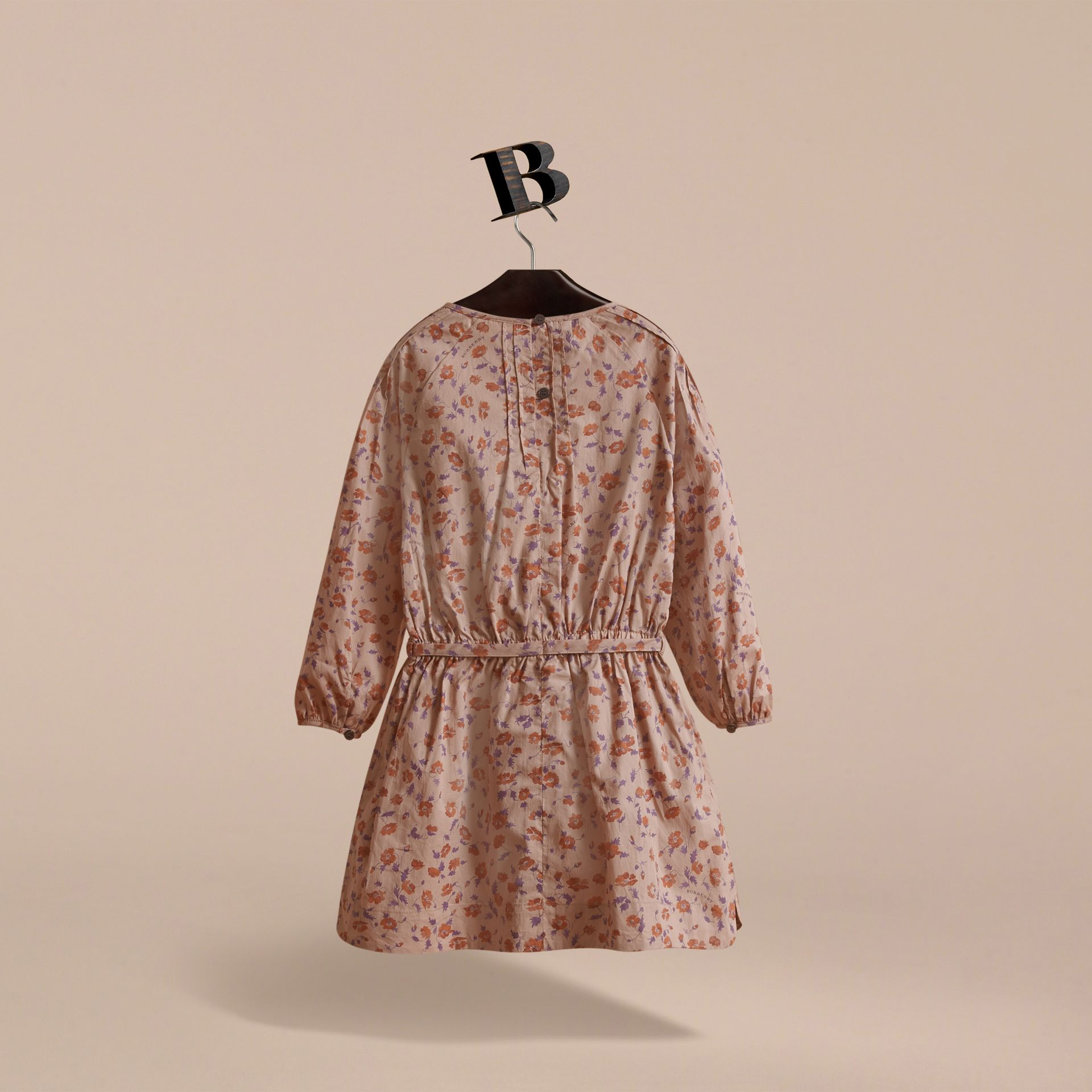 Pintuck Detail Floral Cotton Dress | Burberry Canada - gallery image 4