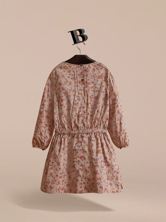 Pintuck Detail Floral Cotton Dress | Burberry - cell image 3