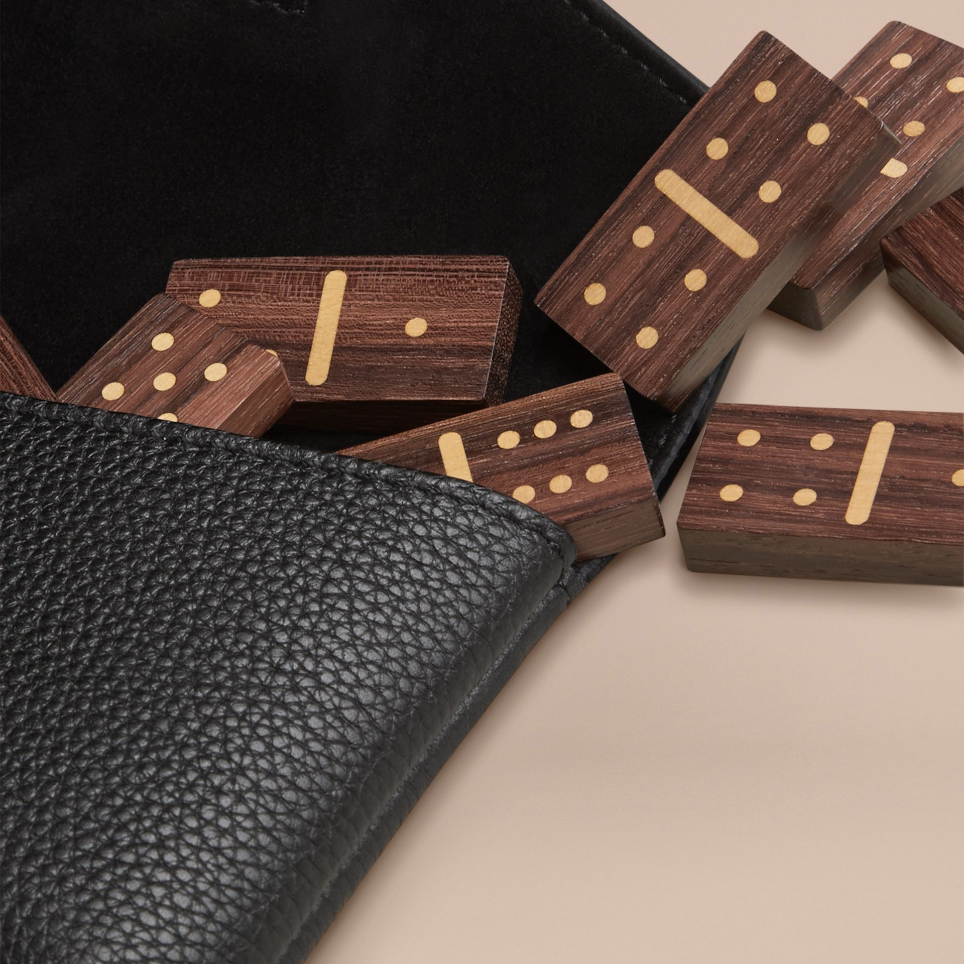 Black Wooden Domino Set with Grainy Leather Case Black - gallery image 2