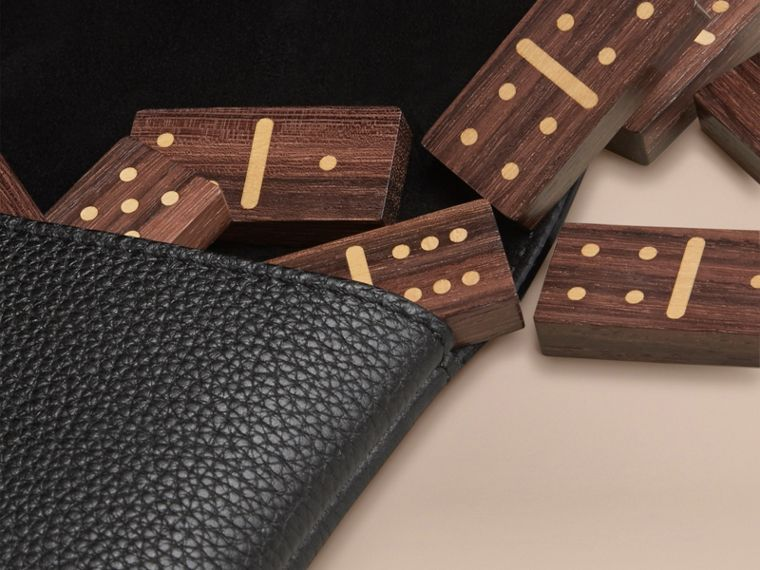 Wooden Domino Set with Grainy Leather Case in Black - cell image 1