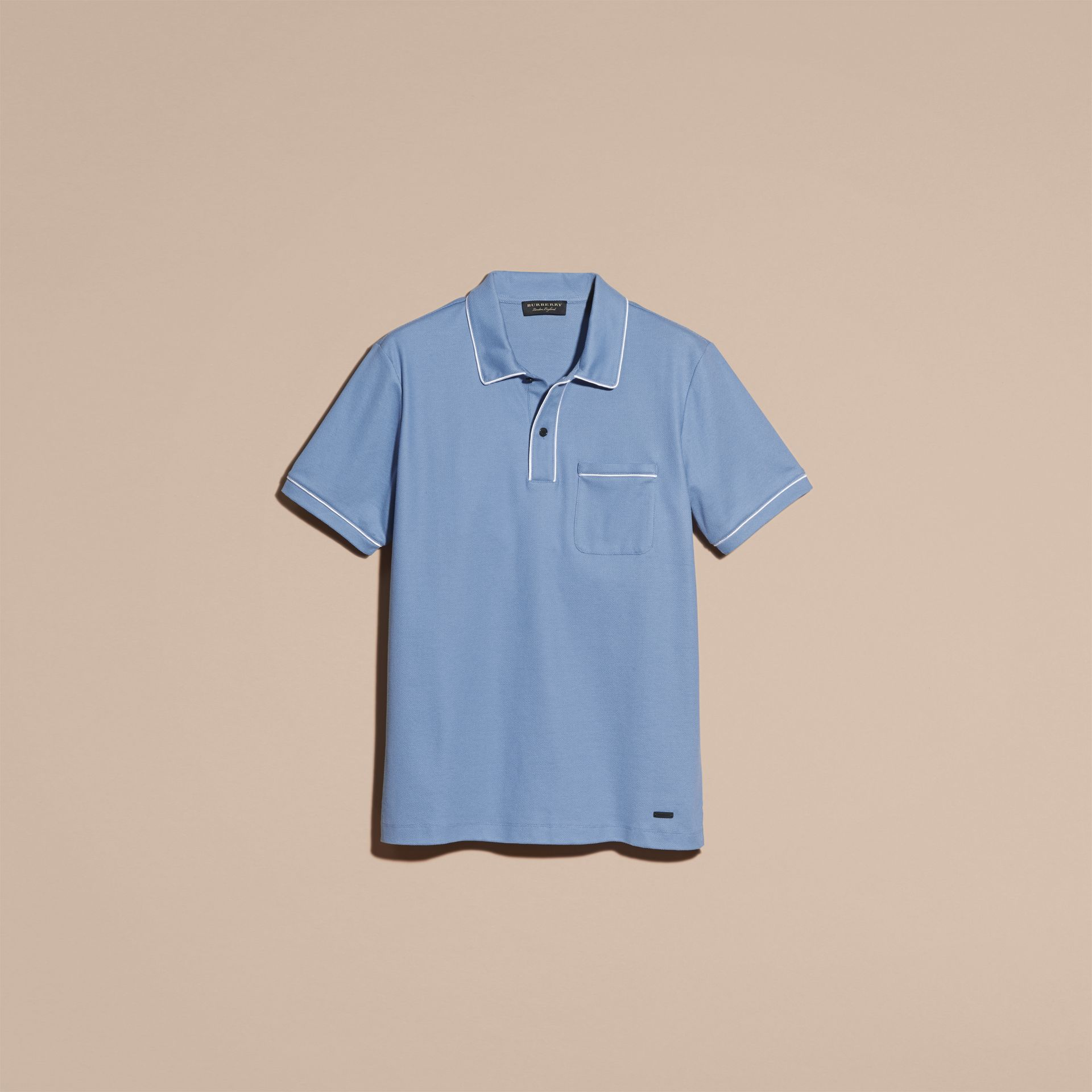Light blue Piped Cotton Piqué Polo Shirt Light Blue - gallery image 4