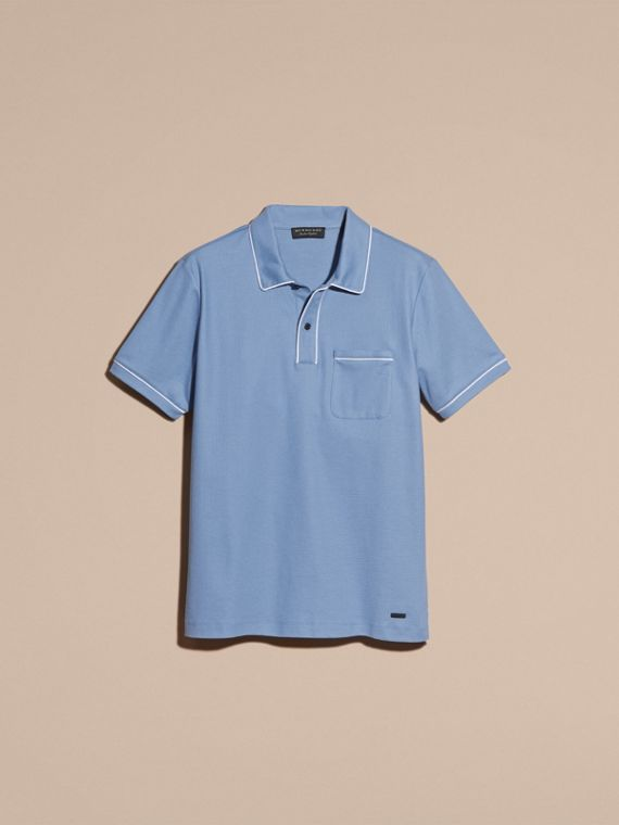 Piped Cotton Piqué Polo Shirt in Light Blue - cell image 3