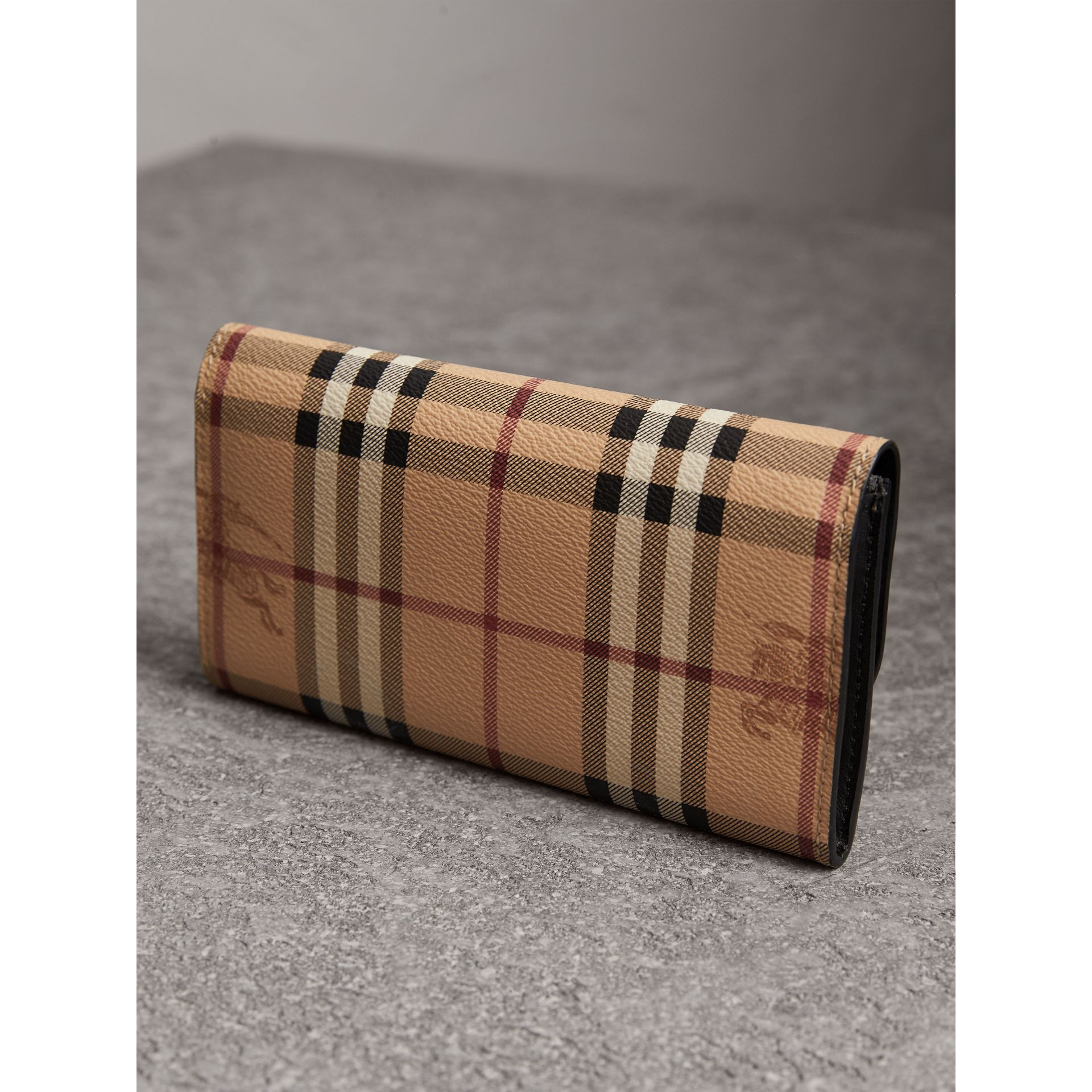 Haymarket Check and Leather Slim Continental Wallet in Black - Women | Burberry United Kingdom - gallery image 2