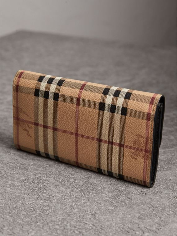 Haymarket Check and Leather Slim Continental Wallet in Black - Women | Burberry Australia - cell image 2