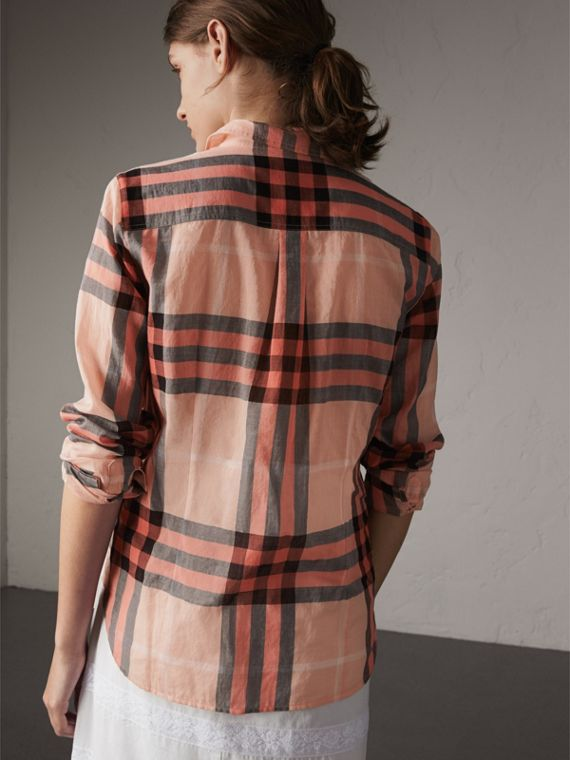 Check Cotton Shirt in Apricot - Women | Burberry - cell image 2