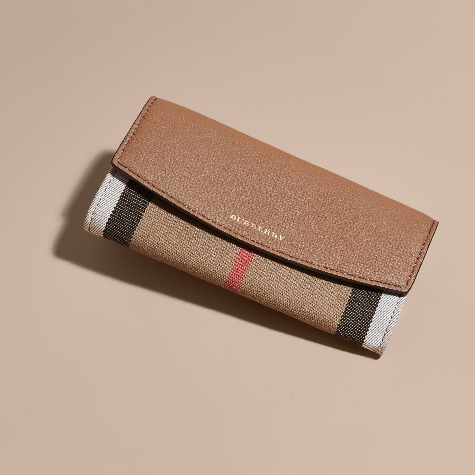 House Check And Leather Continental Wallet in Dark Sand - Women | Burberry - gallery image 6