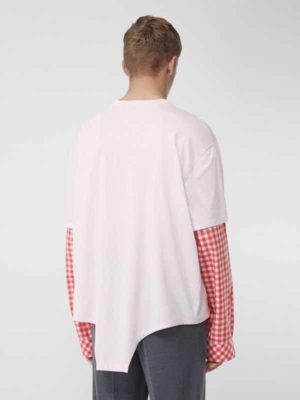 Gingham Sleeve Cut-out Hem Cotton Oversized T-shirt in Pale Pink | Burberry - cell image 2