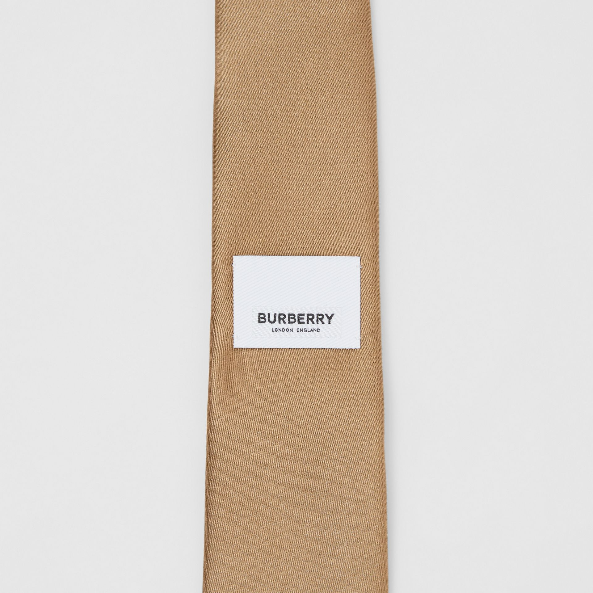 Logo Label Classic Cut Silk Tie in Light Fawn - Men | Burberry United Kingdom - gallery image 5