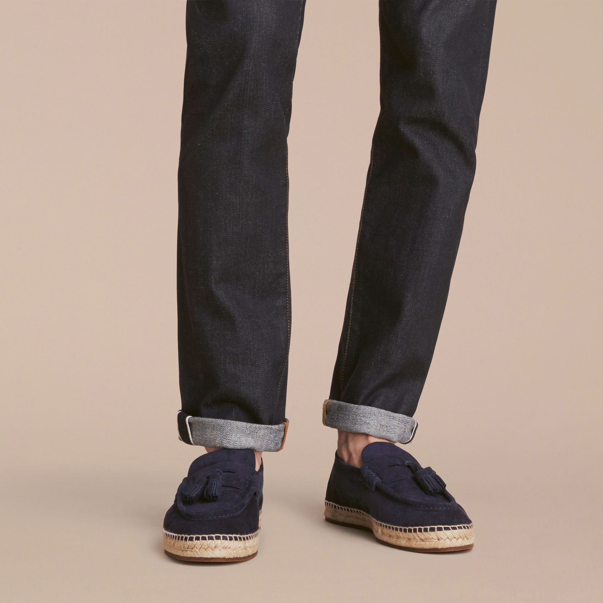 Tasselled Suede Espadrille Loafers Midnight Blue - gallery image 3