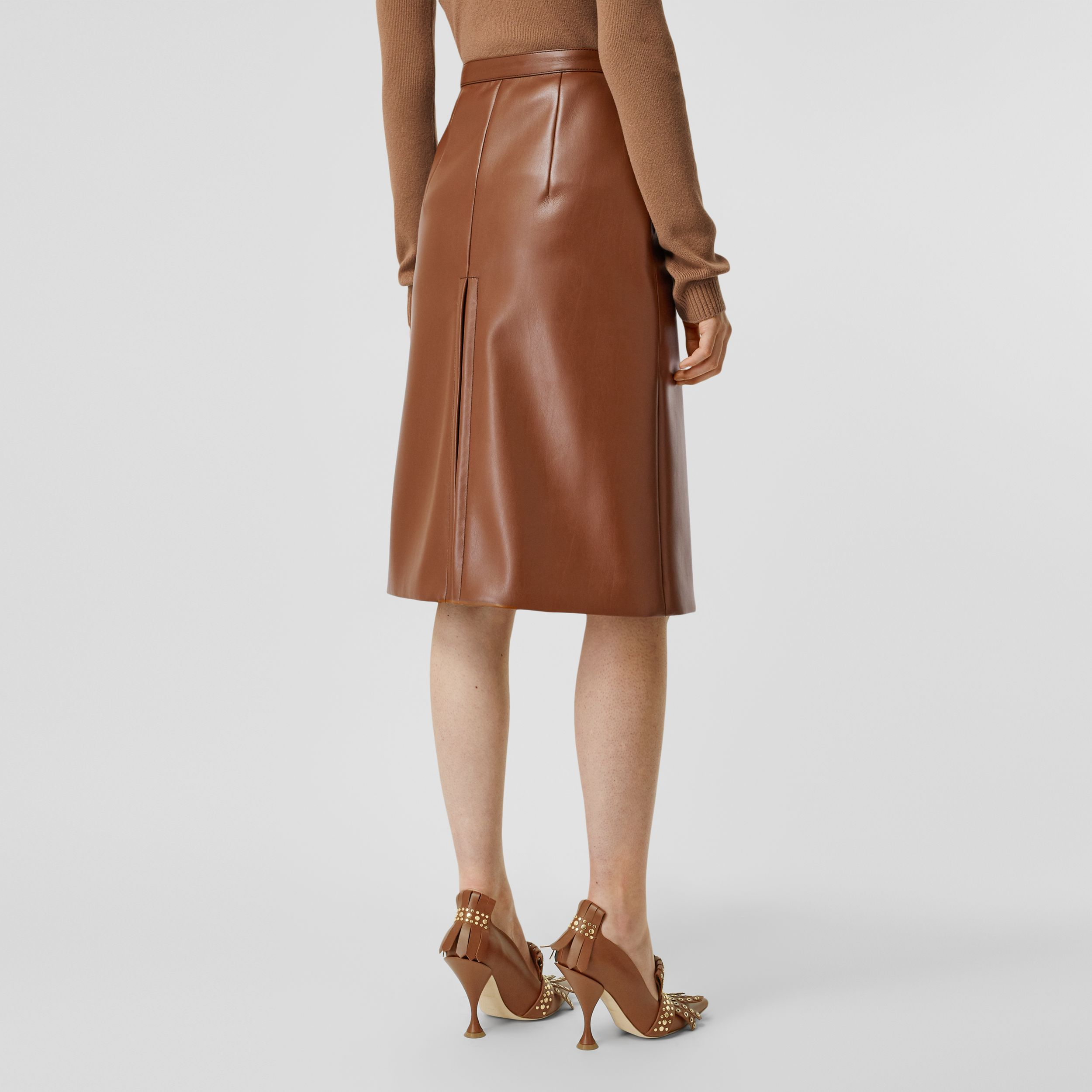 Box Pleat Detail Faux Leather Skirt in Dark Cheshnut Brown - Women | Burberry United Kingdom - 3