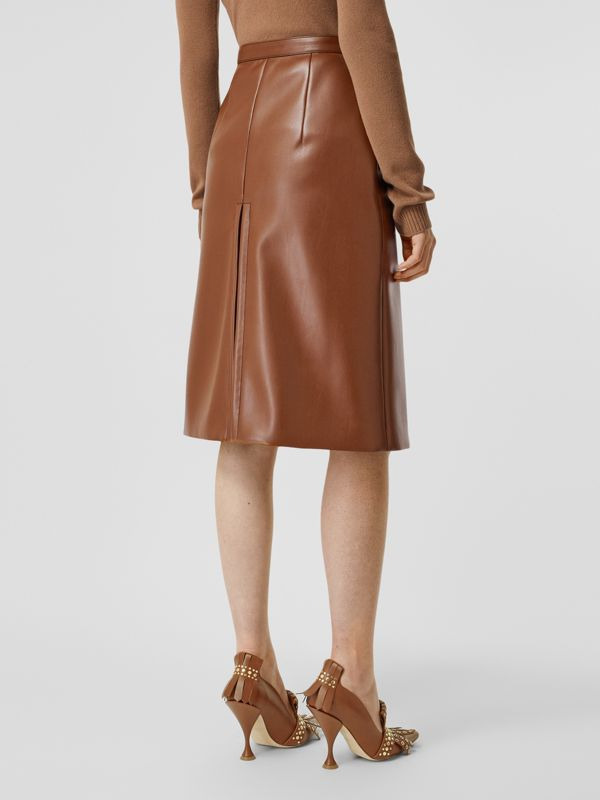 Box Pleat Detail Faux Leather Skirt in Dark Cheshnut Brown - Women | Burberry - cell image 2