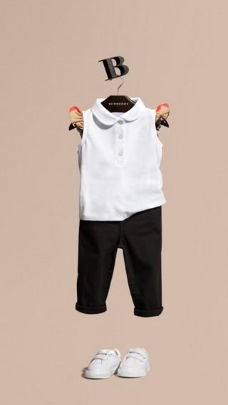 Polo en coton extensible avec manches à motif check