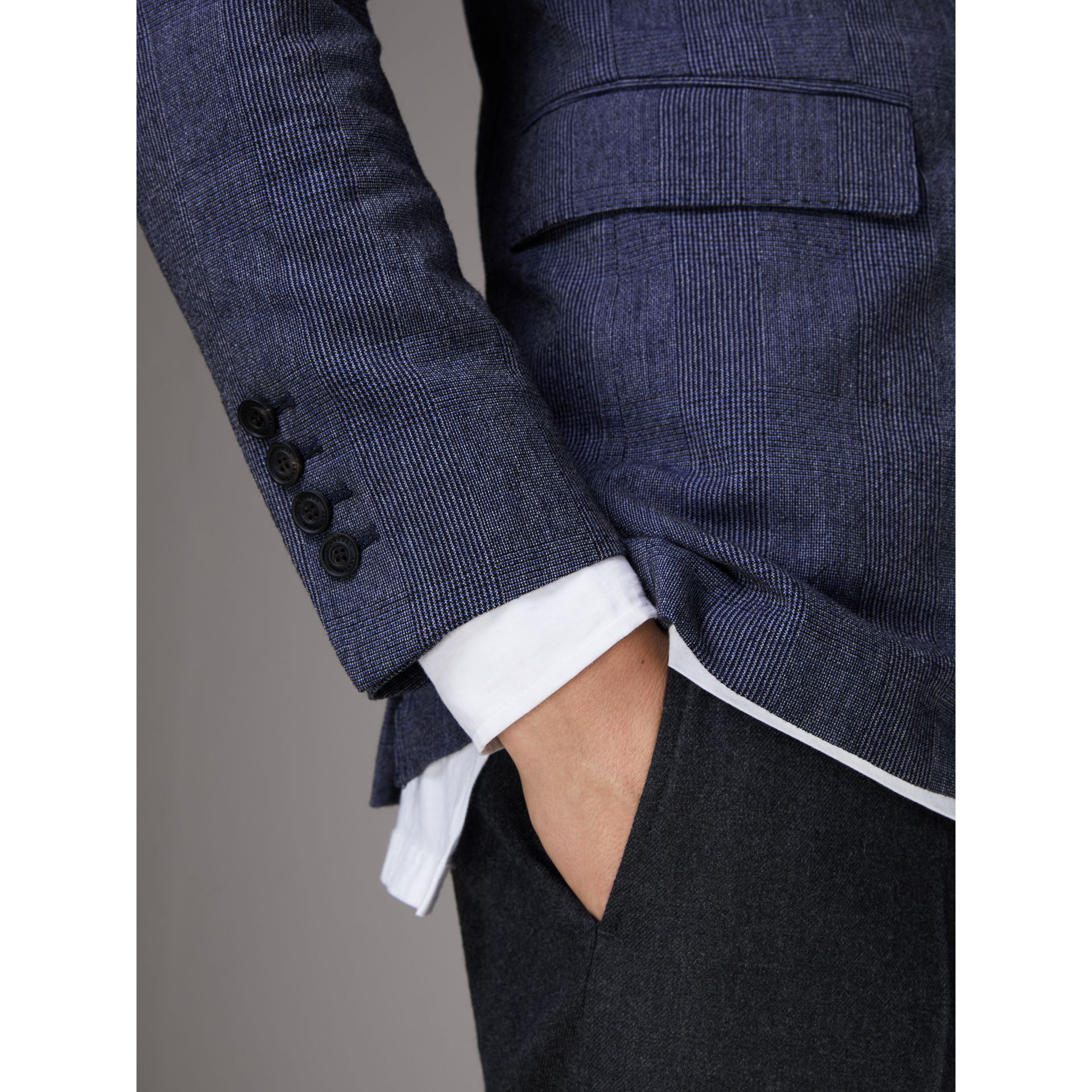 Slim Fit Cotton Wool Blend Tailored Jacket in Bright Blue Melange - Men | Burberry - gallery image 5