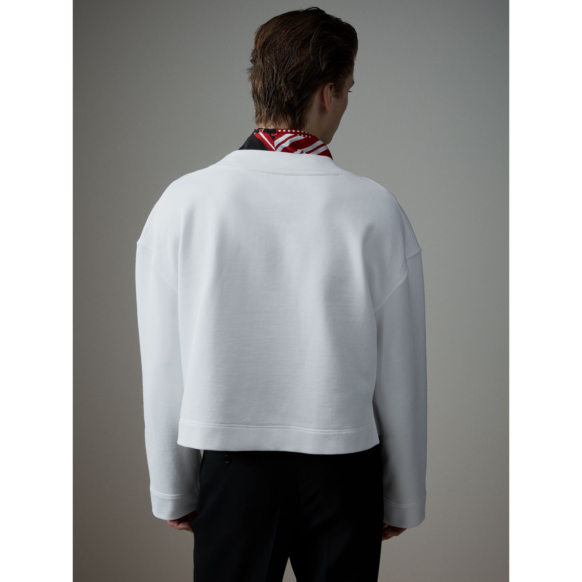 Cotton Cropped Sweatshirt with Crystal Brooch in Optic White - Men | Burberry - gallery image 2