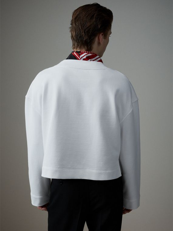 Cotton Cropped Sweatshirt with Crystal Brooch in Optic White - Men | Burberry - cell image 2