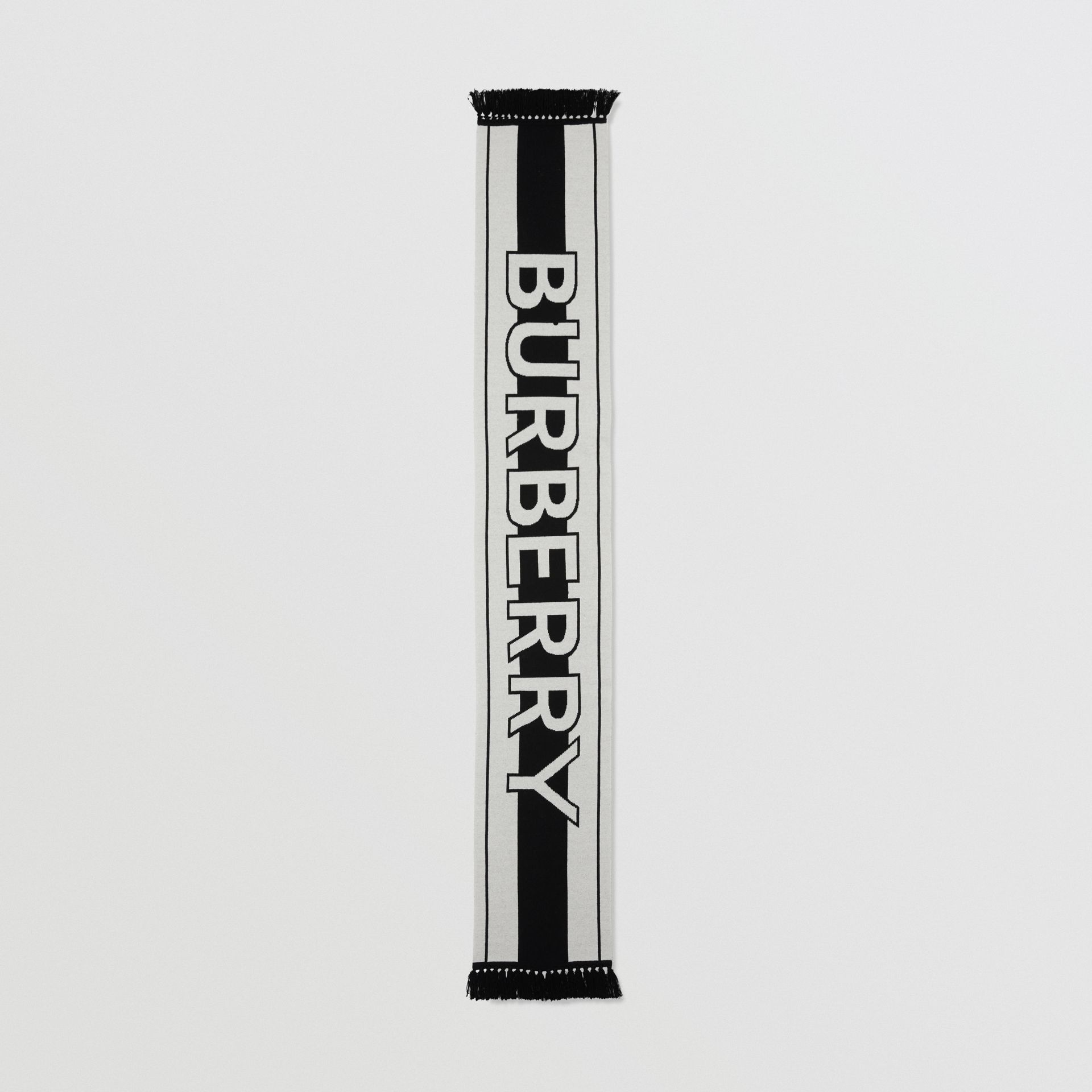 Logo Cashmere Jacquard Scarf in White | Burberry United Kingdom - gallery image 5