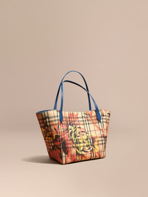 The Small Canter in Peony Rose Print Haymarket Check Mineral Blue/vibrant Orange