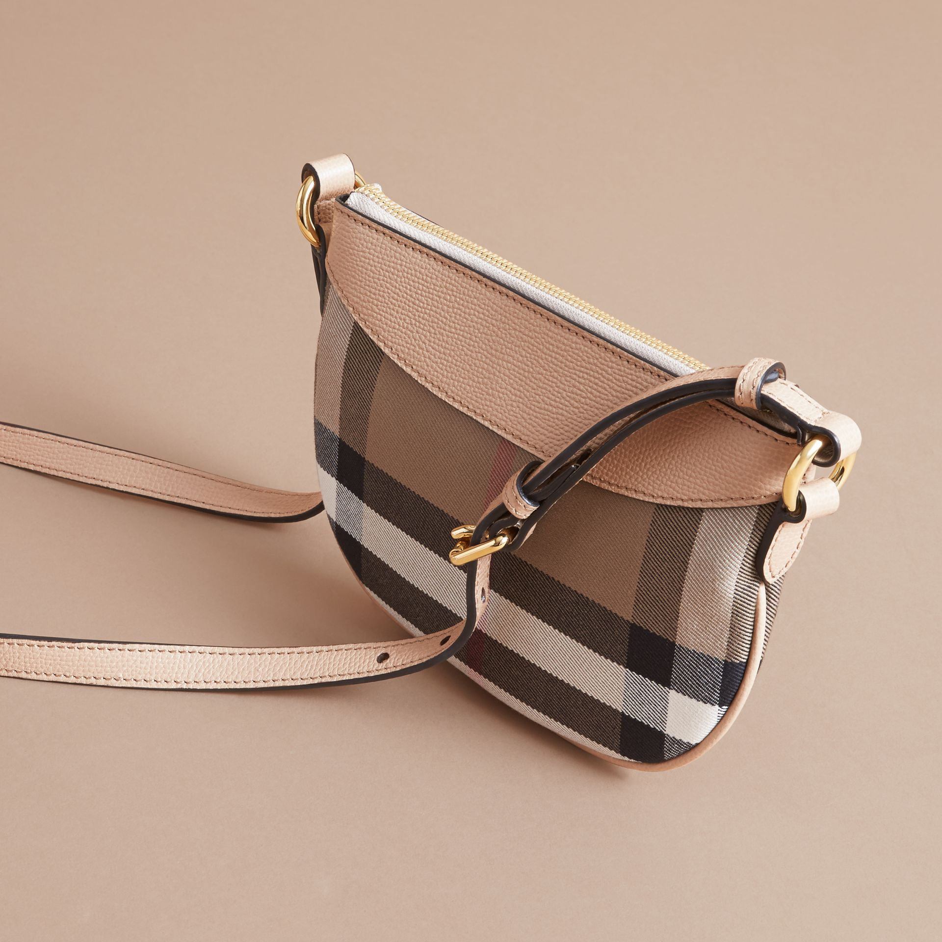 House Check and Leather Crossbody Bag in Chino - Girl | Burberry - gallery image 3