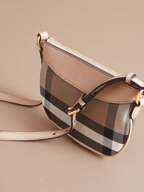 House Check and Leather Crossbody Bag in Chino - Girl | Burberry - cell image 2