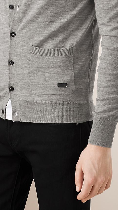 Mid grey melange V-Neck Merino Wool Cardigan - Image 4
