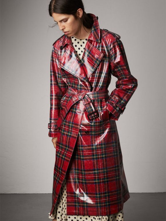 Laminated Tartan Wool Trench Coat in Bright Red