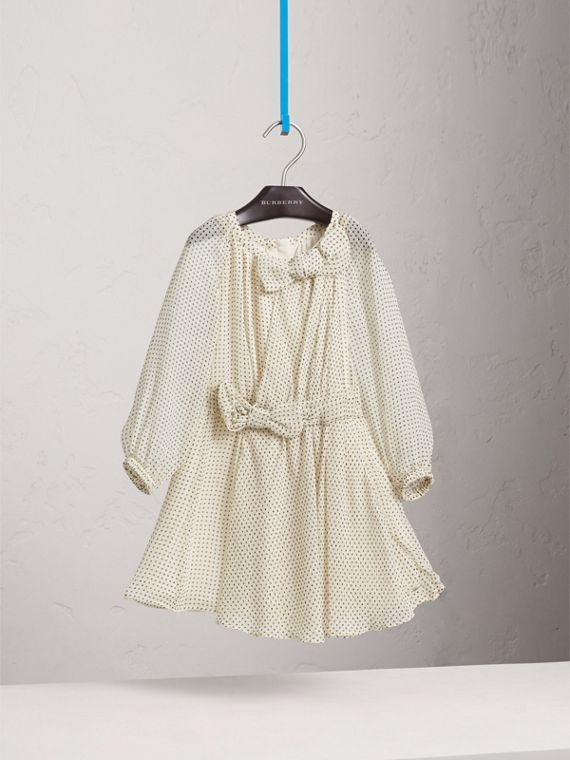Bow Detail Polka-dot Silk Crepon Dress in Natural White/navy - Girl | Burberry - cell image 2