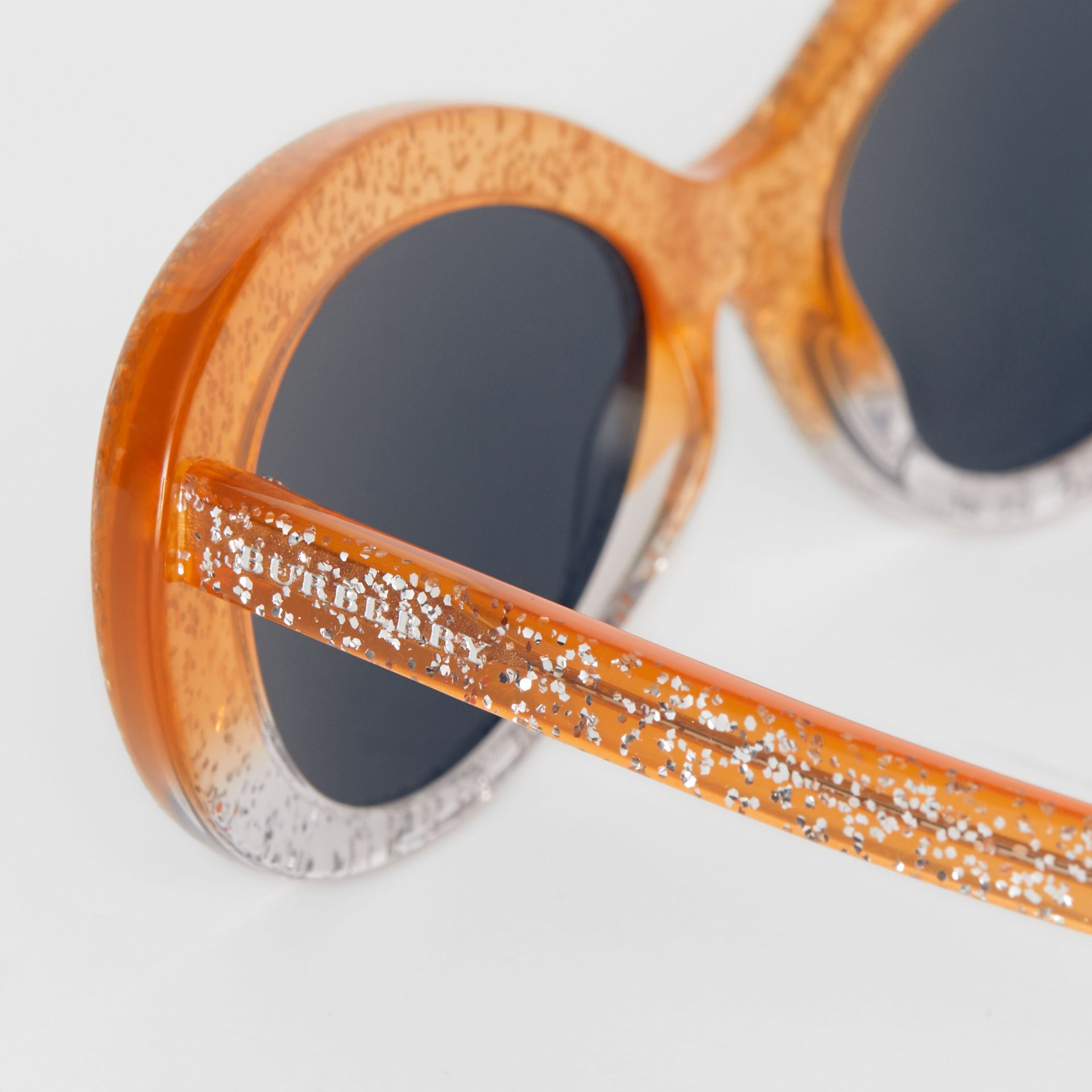 Glitter Cat-eye Frame Sunglasses in Orange - Women | Burberry - gallery image 1