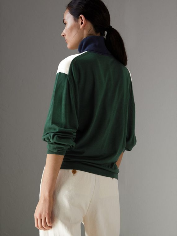 Colour Block Silk Cashmere Roll-neck Sweater in Natural White - Women | Burberry - cell image 2