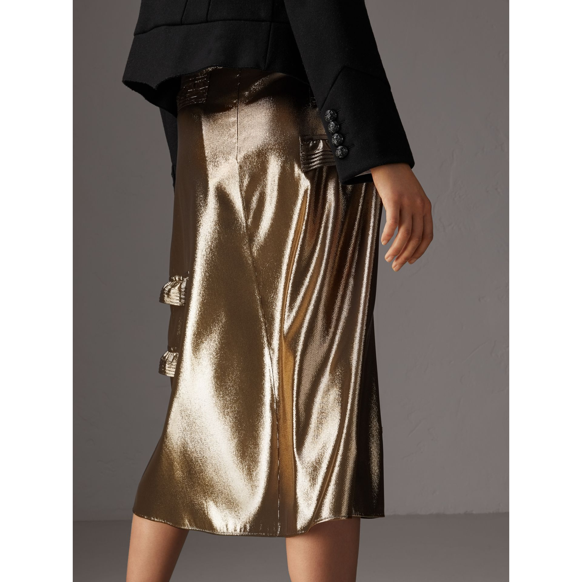 Ruffle Detail Lamé Skirt – Online Exclusive in Gold - Women | Burberry - gallery image 3