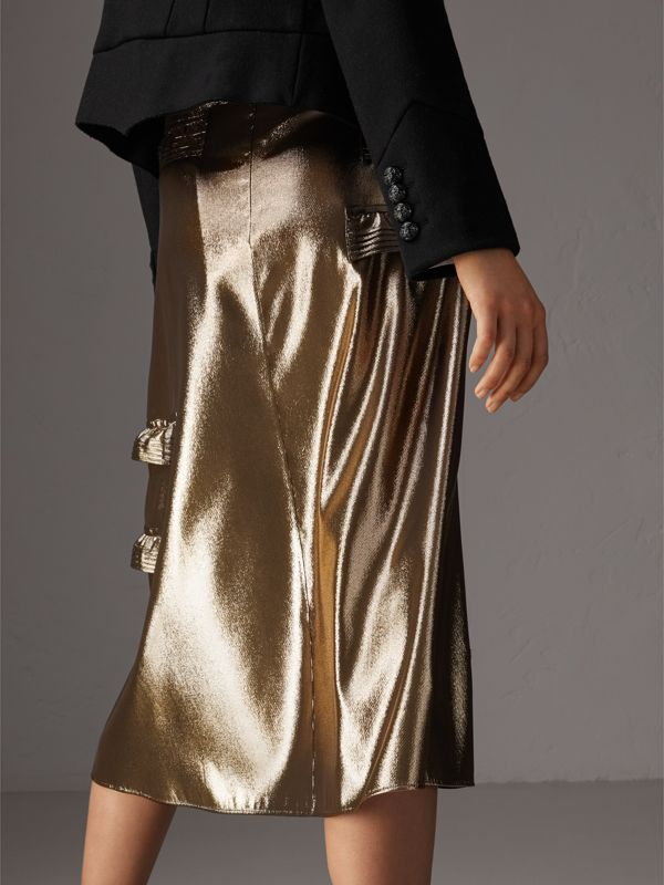 Ruffle Detail Lamé Skirt – Online Exclusive in Gold - Women | Burberry - cell image 2