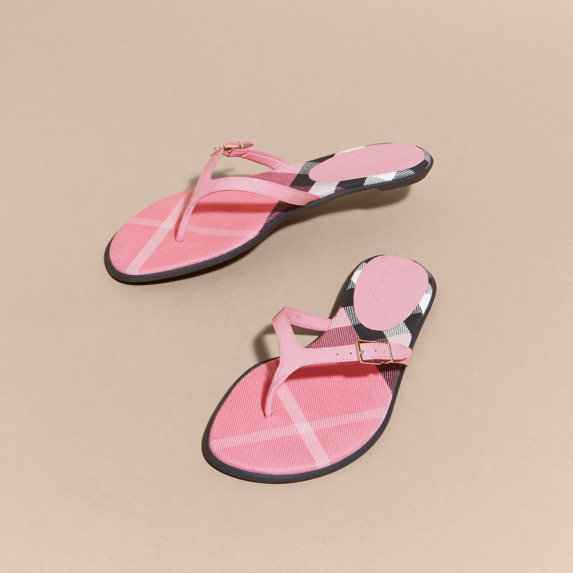 House Check and Patent Leather Sandals Berry Pink - gallery image 3