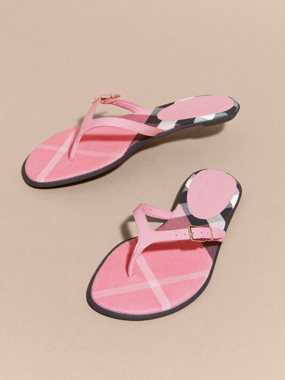 House Check and Patent Leather Sandals Berry Pink - cell image 2