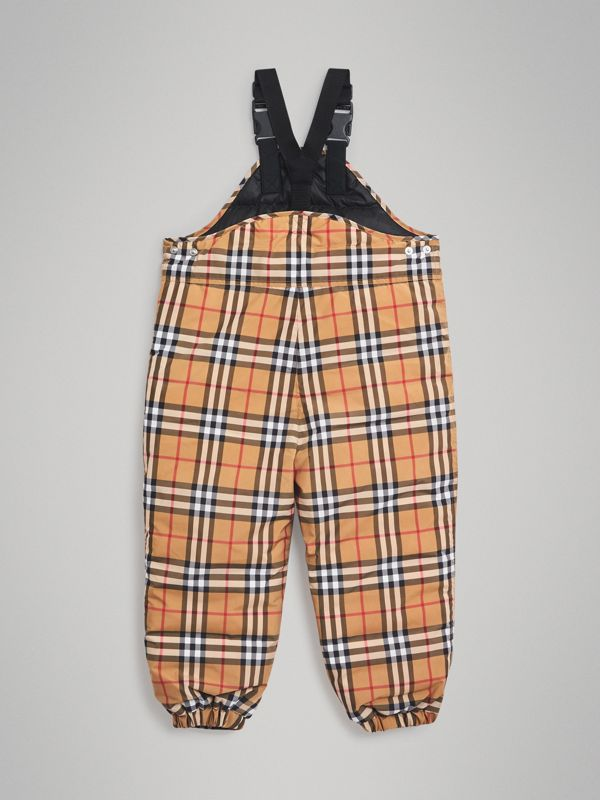 Showerproof Vintage Check Down-filled Dungarees in Antique Yellow | Burberry Australia - cell image 3