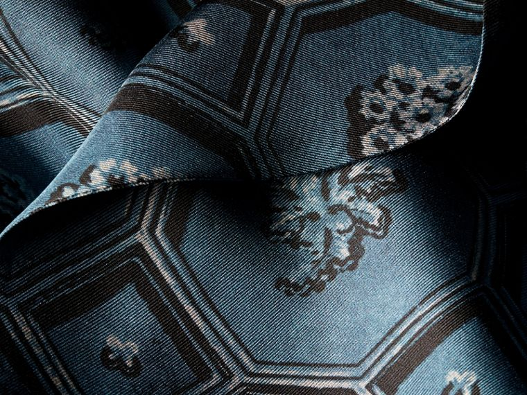 Dark mineral blue Wallpaper Print Silk Twill Wrap Trench Dress - cell image 1